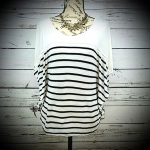 H&M Tops - H&M White & Black Stripe Winged-Sleeve Top
